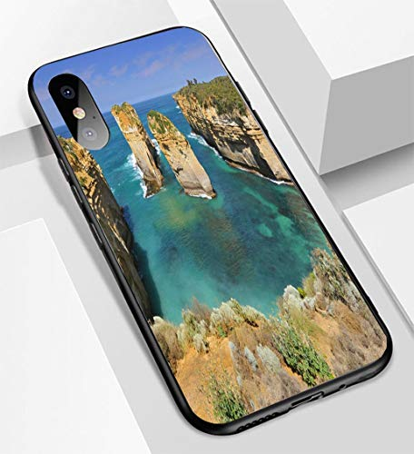 (iPhone X/XS Ultra-Thin Glass Back Phone case,Australia Great Ocean Road Port Campbell National Park by The Great Ocean Road in Victoria 1soft and Easy to Protect The Protective case)