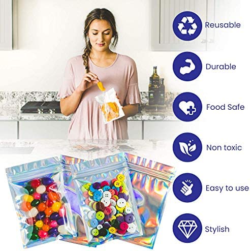 Bagnosis Holographic Bags Packaging Bags. 120 Resealable Bags. 3x4 Inch Mylar Bags for Food Storage, Cute Lip Gloss Bags for Packaging Products, Lash Bags, Smell Proof Bags Dispensary Packaging Bag