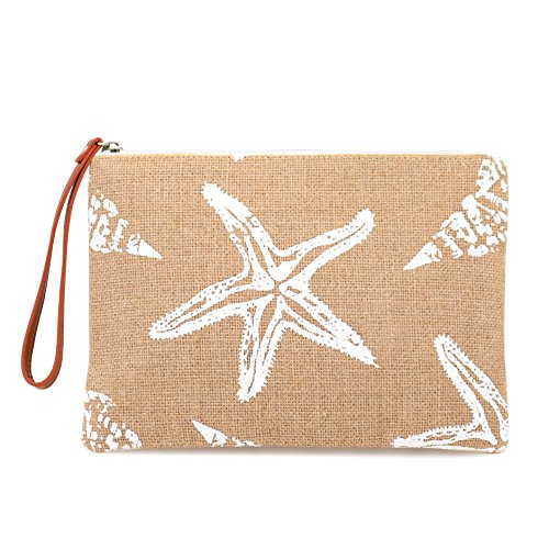 Wholesale Womens Handbags (Seven Island Women Leather Canvas Cute Tropical Pineapple Print Unisex Portable Travel Evening Cosmetic Makeup Zipper Purse Wrist Pouch Clutch)