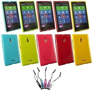 Emartbuy® Nokia XL Paquete de 5 Mini Metálico Lápiz Óptico + Paquete de 5 Shiny Lustroso TPU Gel Funda Carcasa Case cover Hot Rosa, Rojo, Azul, Amarillo, Verde