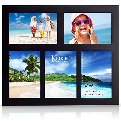 Klikel Photo Collage Frame | Black Wooden Wall Frame | 5 Openings - 4x6 Pictures | Decorative Family Picture Frame