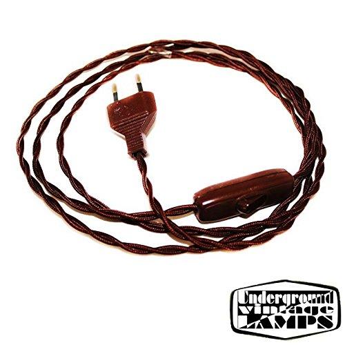Cable Cableado trenzado cuerda trenzada 200/cm 250/V enchufe 2/a con interruptor Marr/ón