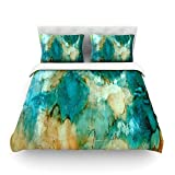 Kess InHouse Rosie Brown ''Waterfall'' Teal Blue Cotton Duvet Cover, 88 by 104-Inch