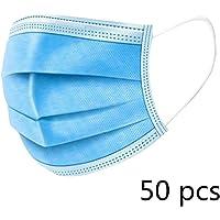 KETONG 50 Partes Desechables Boca Cara Facial Polvo Morph Mujer Hombre Gancho respiración por la Boca Cara del Filtro Protector bucal 3-Capa no Tejida,50 Piezas