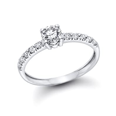 1/2 cttw GIA Certified Diamond Engagement Ring in 14k White Gold (1/