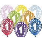6Ballons gonflables mélange multicolore 1er anniversaire