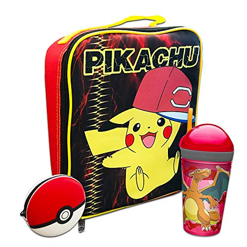 Pokemon Lunch Bag School Supplies Bundle ~ Large Pikachu Lunch Bag, Insulated Pokeball Lunch Box, Charizard Snack and Drink Tumbler, Silicone Pokeball Pouch (Pokemon School Supplies)]()