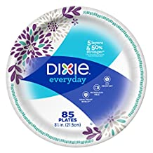 Dixie Everyday Paper Plates, 8 1/2 Inch Plates, 85 Count; Designs May Vary