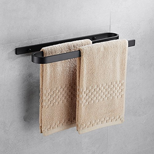 Hiendure Towel Bar, Double Towel Holder 18 Inch,Black Painting Bathroom Shelf,Space Aluminum Wall Mount Rack Contemporary Style By