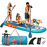 Peak 12' Titan Royal Blue Multi Person Inflatable Stand Up Paddle Board with 2 Adj Paddles (Royal Blue)