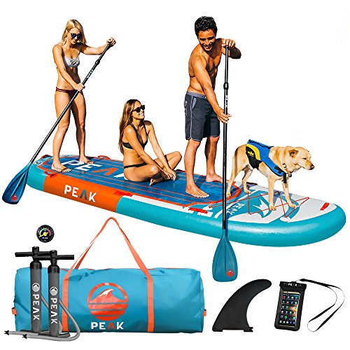 Peak 12 Titan Royal Blue Multi Person Inflatable Stand Up Paddle Board With 2 Adj Paddles  Royal Blue