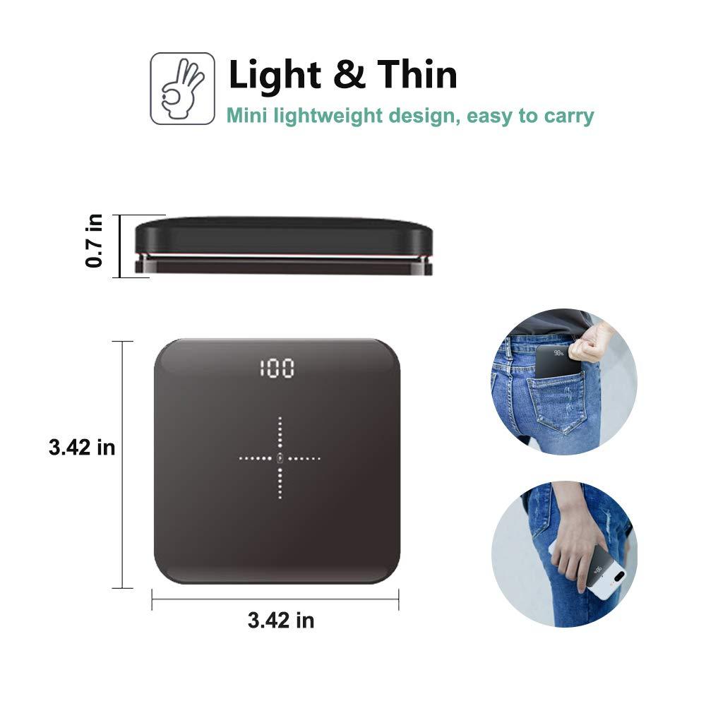 UCMDA Chargeur sans Fil, Chargeur Rapide sans Fil Qi 8000mAh, Mini Batterie Externe pour Samsung S10/S9/S8/S7/Note 9/8/7 iPhone X/XS/XR/8 Plus et Autres - Noir