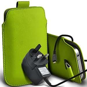 Samsung Galaxy S3 i9300 premium protección PU ficha de extracción de deslizamiento del cable En caso de la cubierta y Micro Pouch Pocket Skin USB CE aprobó 3 Pin Cargador verde por Spyrox