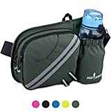 KEESPENCE Hiking Fanny Pack, Waist Bag with Water Bottle Holder for Men Women Outdoors Walking Running, Dog Fanny Pack, Fit iPhone 8 Plus/XS Max/ 6.5'' Large Smartphones (Dark Green)