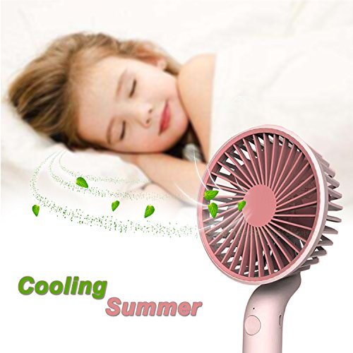 Qiwoo Mini Fan Battery Operated Portable Fan with Stand Handheld Personal USB Rechargeable Cool Fan with 3 Adjustable Speeds for Kids Women Men Table Desk Home Camping Travel Indoor Outdoor(Pink) by Qiwoo (Image #3)
