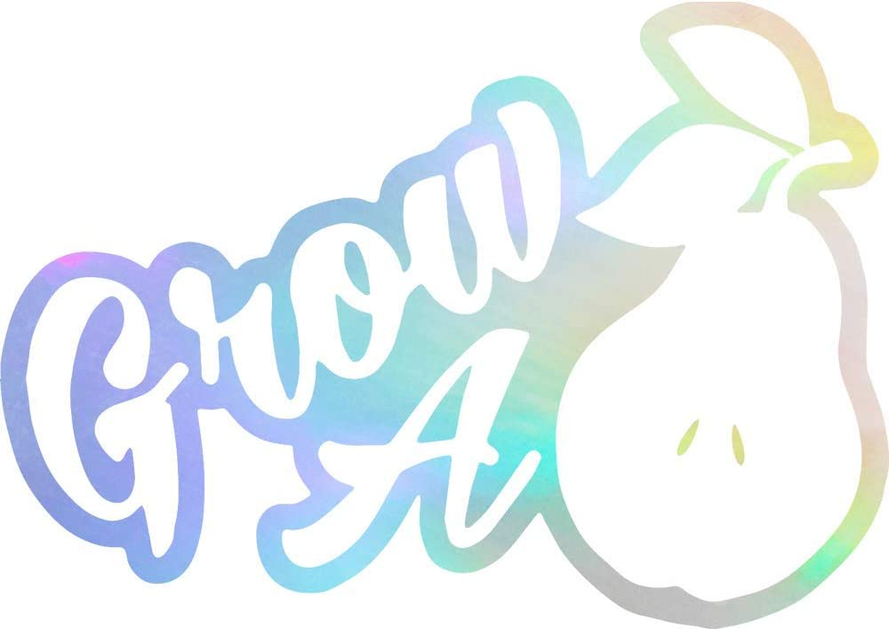ANGDEST Humor Grow A Pair Pear (Hologram) (Set of 2) Premium Waterproof Vinyl Decal Stickers for Laptop Phone Accessory Helmet Car Window Bumper Mug Tuber Cup Door Wall Decoration