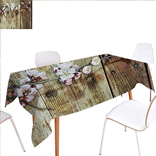 Fabric Heritage Walnut - familytaste Rustic Washable Tablecloth Stained Walnut Branch with Soft Twiggy Swirling Flowers Leaves Cottage Life Concept Waterproof Tablecloths 50