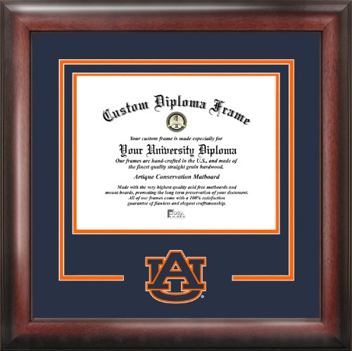 Campus Images NCAA Auburn Tigers Spirit Diploma Frame, 13 x 17, Mahogany