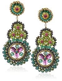 Miguel Ases Small Green Onyx Molecule Circle Multi-Swarovski Drop Earrings