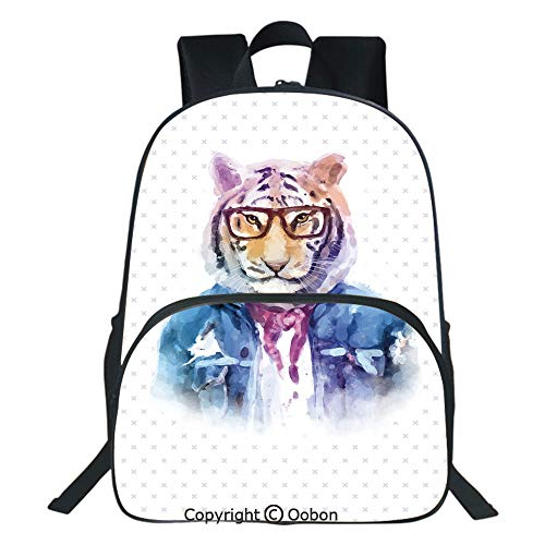 - Oobon Kids Toddler School Waterproof 3D Cartoon Backpack, Intellectual Tiger with Scarf Torn Denim Jacket and Glasses Watercolor Artwork Decorative, Fits 14 Inch Laptop