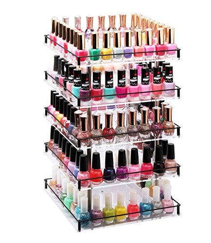 J JACKCUBE DESIGN JackCubeDesign 5 Tier Acrylic 350 Nail Polish 360 Rotating Display Rack Organizer Stand Makeup Cosmetics Storage Box Carousel Shelf with Iron Guard(5tier) - :MK302-5