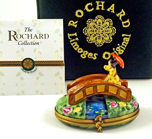 - Authentic French Porcelain Hand Painted Rochard Limoges Box Lady with Umbrella on Japanese Bridge in Garden