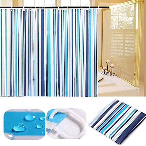 Railet Durable Bathroom-Curtains Stain Resistant No Smell For Shower Stall and Bathtub 72x72 Plastic-Shower-Curtain with 12 Plastic Hooks (1pack, Stripes) (Bathroom Shower Curtains Plastic)