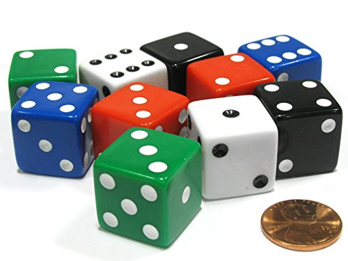 Set of 10 Large Six Sided Square Opaque 19mm D6 Dice - 2 Ea