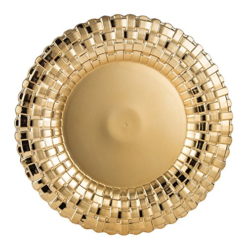 FANTASTIC :)  Round 13 Inch Plastic Charger Plates with Eletroplating Finish (1, Shinny Braided Gold)
