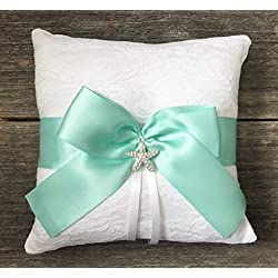 Beach Themed White Lace Aqua Blue Satin Bow Rhinestone Starfish Wedding Bridal Ring Bearer Pillow