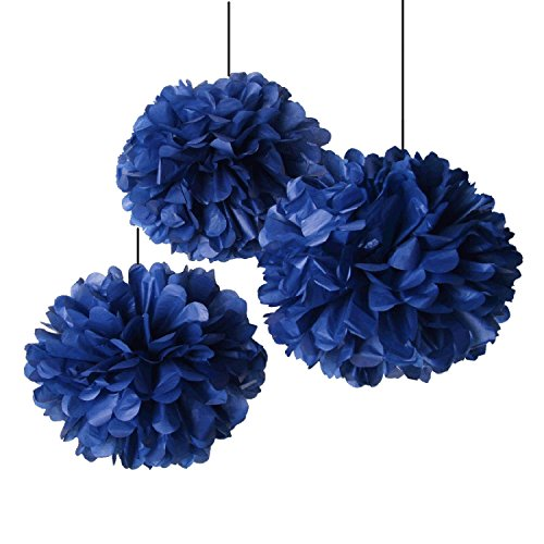 Heartfeel 8pcs navy blue tissue paper pom poms flower ball for Hanging pom poms from ceiling