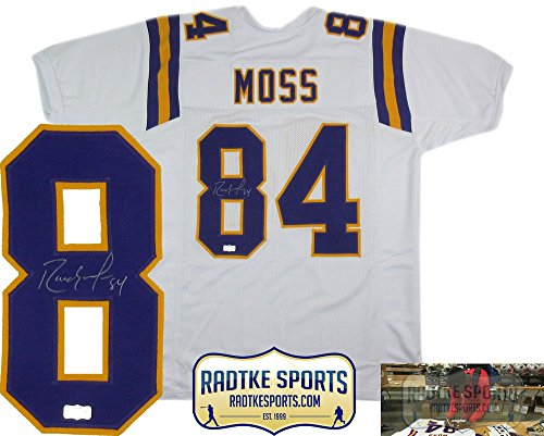 Randy Moss Autographed/Signed Minnesota Vikings Throwback White Custom Jersey (White Roy Jersey)