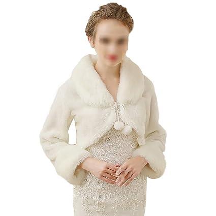 Mantón Bufanda Abrigo de invierno cálido para mujer Mantón nupcial de manga larga de encaje abrigo