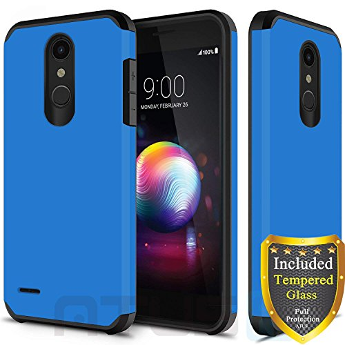 LG K30 Case, LG Harmony 2 Case, LG Phoenix Plus Case, LG Premier Pro Case, LG K10 2018 Case, with Full Cover Tempered Glass Screen Protector, ATUS Hybrid Dual Layer Protective TPU Case (Blue/Black)