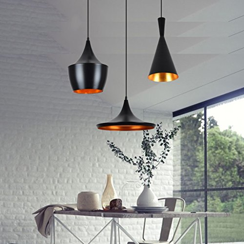 Aluminum chandelier E27 1 lighting restaurant bar living room chandelier bedroom clubs Nordic modern minimalist creative personality A+ ( Color : Black , Size : 3621cm ) by Zheng Hui Home (Image #1)