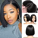 Anemone Short Bob Wigs Natural Straight Brazilian Human Hair Wig 13x4 Middle Part Lace Front Wigs for Black Women Natural Color for Looking (8 inch)