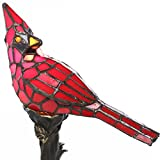 "13.5""H Stained Glass Bird Accent Lamp - Red Cardinal"