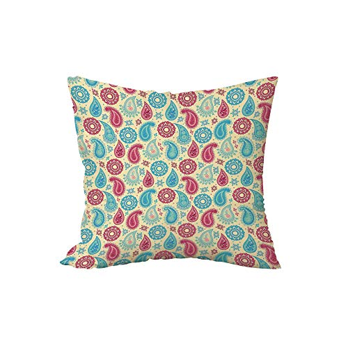 ow Pillow Cushion,Paisley,Retro Style Paisley Patterns and Flowers Ethnic Design Home Decor Decorative,Turquoise Pink Cream,15.7x15.7Inches,for Sofa Bedroom Car Decorate ()