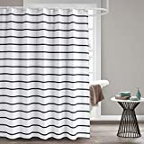 striped shower curtains  Fabric Shower Curtain, 72 x 72 Black and White Striped Geometric Cloth Shower Curtains for Bathroom Monogrammed Simply Design, Heavy Weighted and Waterproof