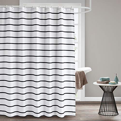 Seavish Fabric Shower Curtain, 72 x 78 Black and White Striped Geometric Cloth Shower Curtains for Bathroom Monogrammed Simply Design, Heavy Weighted and Waterproof