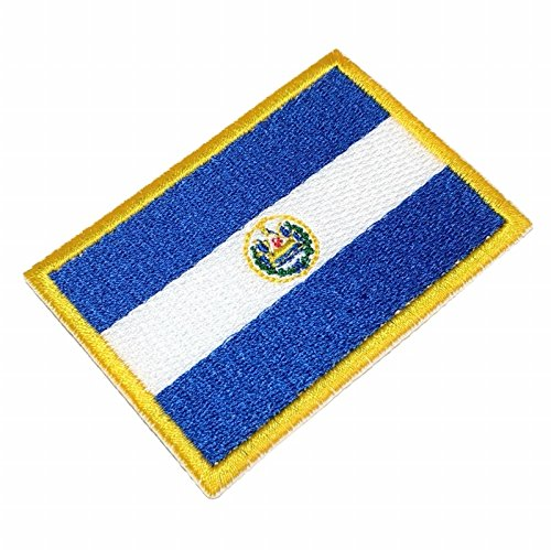 BIN203 El Salvador flag Embroidered Patch Iron or Sew 2.2 x 3.1 x 0.1 inches