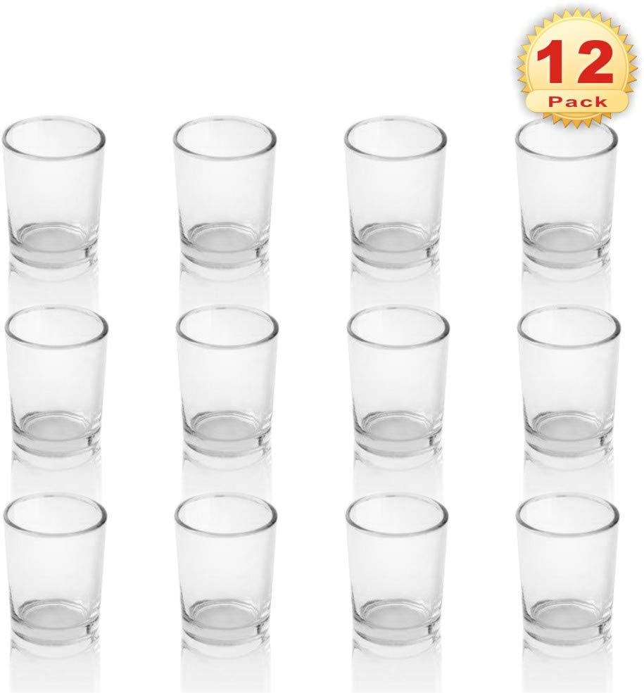 PMLAND Clear Glass Votive Candle Tealight Holders - 2.5 Inch, Pack of 12