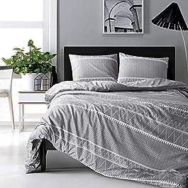 HYPREST Bohemian Twin Duvet Cover Set Lightweight Soft Grey Comforter Cover Set Hotel Quality Bedding Set – Oeko-TEX Certificated