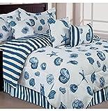 Beach Themed Comforter Sets Seashells, Beach Themed, Nautical Queen Comforter Set & Toss Pillows (7 Piece Bed In A Bag)