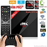 [2018 New Version V17.6] Streaming Player H96 PRO+ Android 7.1 3GB+16GB TV BOX Amlogic S912 Octa Core CPU Bluetooth 4.1 Dual WiFi 2.4GHz/5.8GHz LAN 1000M H.265 4K Player + Mini Wireless Keyboard