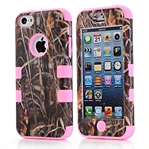 Tree Grass Defender Hybrid Rugged Rubber Matte Soft Hard Case Cover Full Body for iPhone 5C , Rose