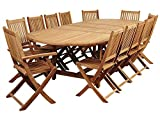 Amazonia Highland 13-Pc Double Extendable Oval Dining Set