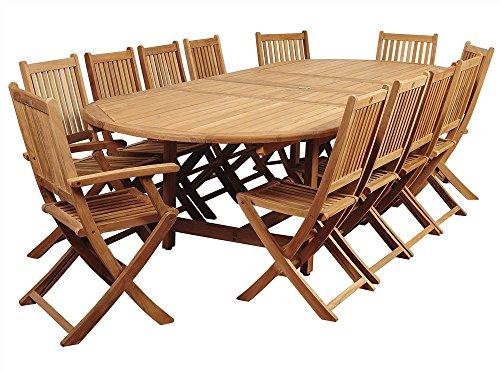 Amazonia Highland 13-Pc Double Extendable Oval Dining Set