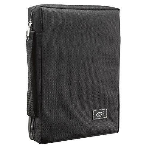 Black Fish Cover - Poly-Canvas Bible/Book Cover w/Fish Applique (Large, Black)