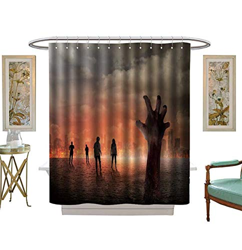 Shower Curtains 3D Digital Printing Halloween Concept,Zombie Hand Rising Out from The Ground Bathroom Set with Hooks Size:W48 x L72 inch